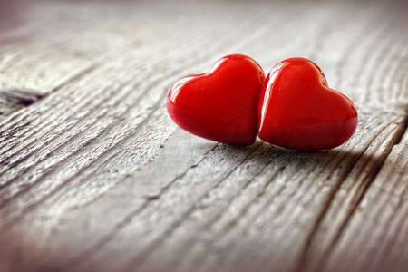 loveheart: Two hearts on a wooden background concept for love, dating and romance with coyspace Stock Photo