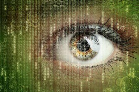 Occhio di donna con futuristico concetto di dati digitali per tecnologia, cuffie per realtà virtuale, scansione della retina biometrica, sorveglianza o sicurezza degli hacker informatici