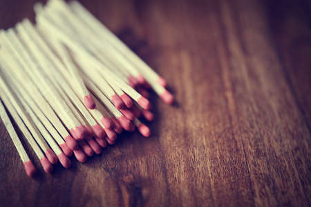 space wood: Red matchstick background on wood with copy space Stock Photo