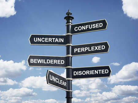 Crossroad signpost saying confused, uncertain, perplexed, bewildered, disoriented, unclear concept for lost, confusion or decisions