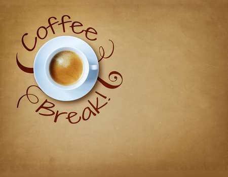 wakening: Coffee break cup with copy space