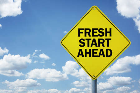 onset: Fresh start ahead road sign concept for business opportunity, future and new career Stock Photo