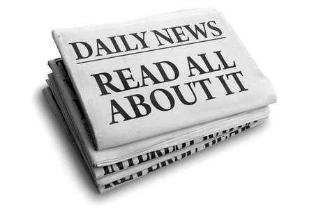 newspaper headline: Daily news newspaper headline reading read all about it concept for event news headline Stock Photo