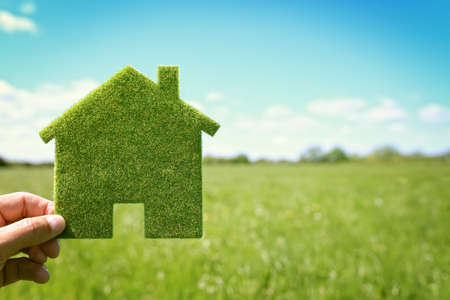 and plot: Green eco house environmental background in field for future residential building plot