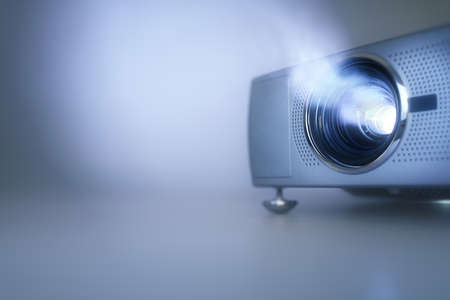 LCD video projector at business conference or lecture with copy space Stock fotó - 61386070