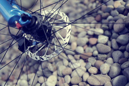 spokes: Mountain bike abstract front disc brake, forks and spokes