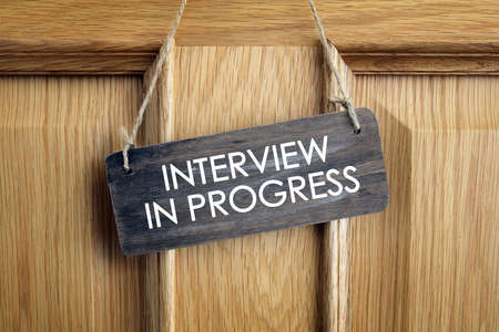 Interview room door concept for recruitment or medical checkup with a consultant Foto de archivo