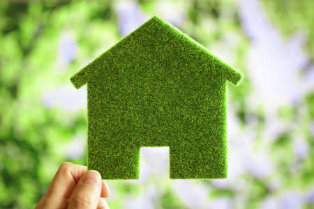 Green eco house environmental background for future residential building plot Stock Photo