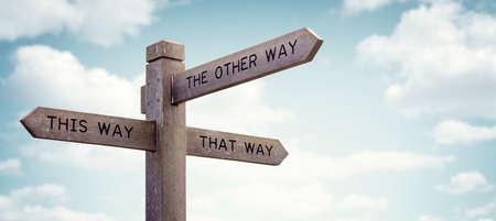 Crossroad wegwijzer zeggen op deze manier, op die manier, de andere kant op begrip voor verloren, verwarring of beslissingen