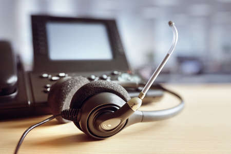 VOIP headset headphones and telephone concept for communication, it support, call center and customer service help desk