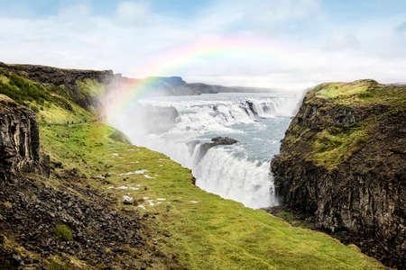 Gullfoss-Wasserfall im Sommer Island Standard-Bild