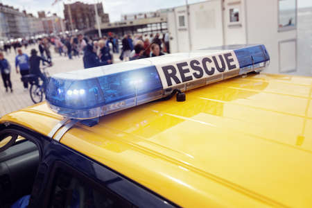 Coast guard rescue van attending an emergency at sea