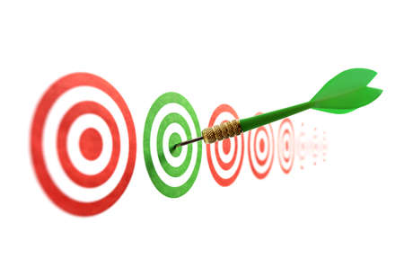 Green dart in target concept for accuracy, accomplishment and business success