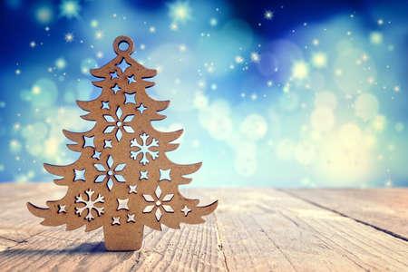 Christmas tree wooden decoration background Standard-Bild