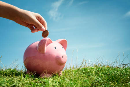 Child hand inserting coin and saving money in piggy bank with grass and blue sky background