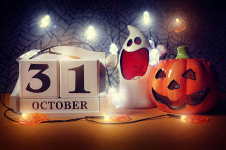 halloween calendar date 31st october with pumpkin and ghost stock photo 92880695