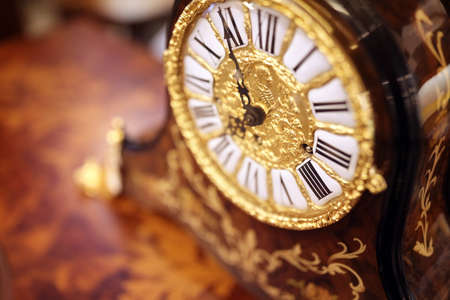 Antique ornate clock background for time concept