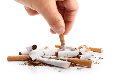 Man refusing cigarettes concept for quitting smoking and healthy lifestyle Standard-Bild