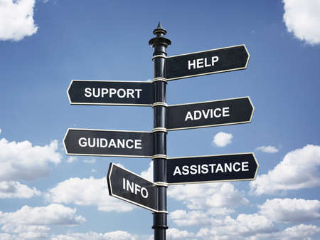 Help, support, advice, guidance, assistance and info crossroad signpost business concept Stockfoto