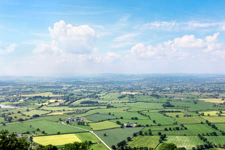 English countryside landscape panorama with blue sky Stockfoto