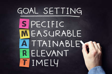 Smart business goal setting project management concept on blackboard Banque d'images