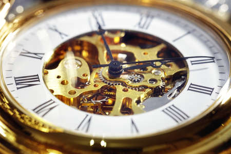 Gold vintage pocket watch close up concept for time