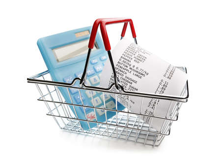 Shopping till receipt, calculator and basket concept for grocery expenses and consumerism Standard-Bild