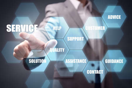 businessman hand pushing service button concept for help, contact support and assistance