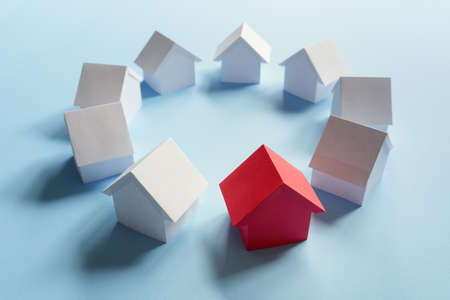Searching for real estate property, house or new home, red house standing out