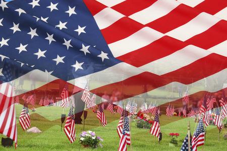 記念日に墓地に切札で取られる敬礼。 写真素材