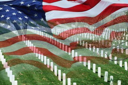 Cemetery and flag in the holidays.