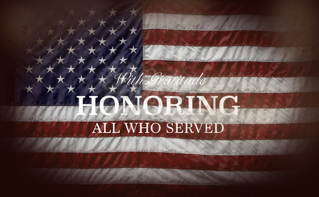 Honoring All Who Served with flag 版權商用圖片