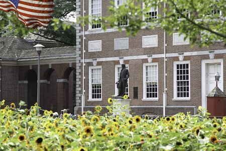 Washington Statue in front of Independence Hall at Independence Hall Historic Park Editorial