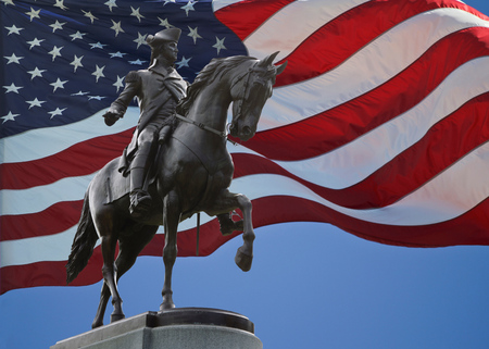 george washington statue: Statue of George Washington a top his horse.