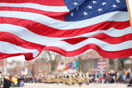 solider: Patriots Day Parade in Lexington, MA Stock Photo