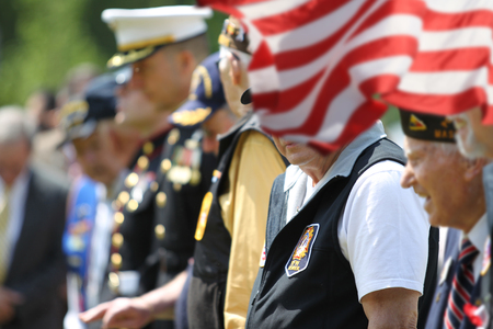 Soldiers and Veterans at Memorial Day Ceremony
