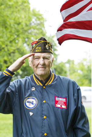Veterans Saluting at Memorial Day Ceremony in Lexington, MA