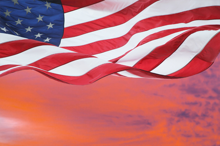 American Flag Fluttering in the Air at Dawn Stok Fotoğraf