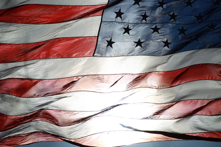 American Flag Fluttering in the Air Stok Fotoğraf - 115344462