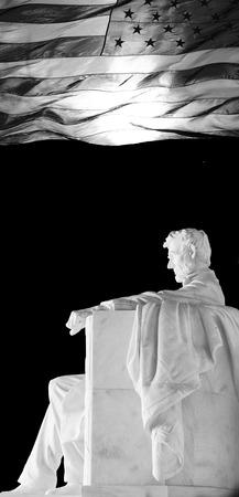 Lincoln Memorial and American Flag, Washington, DC. USA Stok Fotoğraf