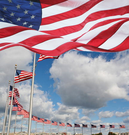 American Flags Fluttering in the Air Stok Fotoğraf - 115344472
