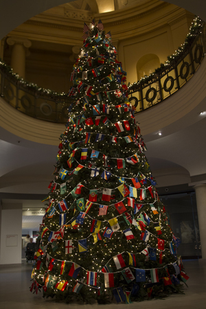 Christas Tree with Variety Countries Flags, Wishing World United and Peace in Details