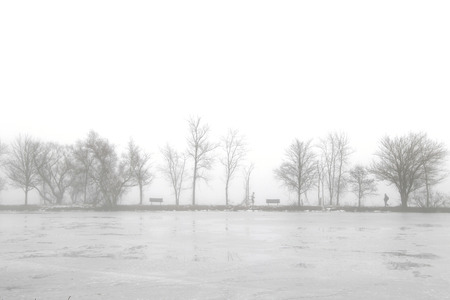 Foggy Lake in Winter Stok Fotoğraf - 118200559