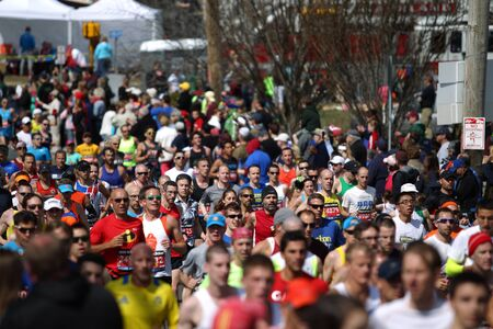 118th Boston Marathon took place in Boston, Massachusetts, on Monday, April 21 (Patriots' Day) 2014. Runners and Spectators