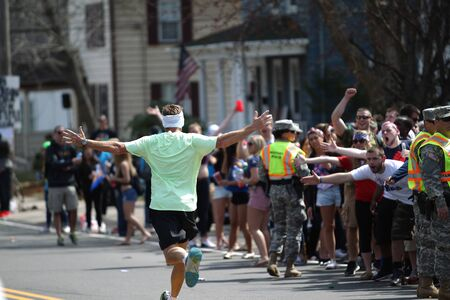 118th Boston Marathon took place in Boston, Massachusetts, on Monday, April 21 (Patriots' Day) 2014. A cheer arose from the crowd college students spectators when the runner appeared