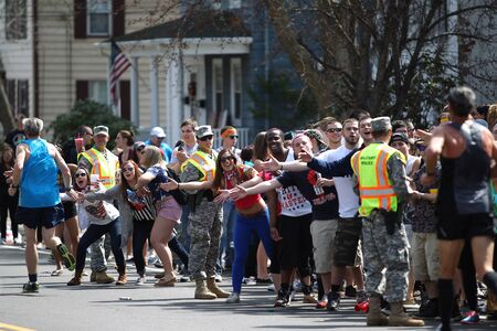 118th Boston Marathon took place in Boston, Massachusetts, on Monday, April 21 (Patriots' Day) 2014. A cheer arose from the crowd college students spectators when the runners appeared Editöryel