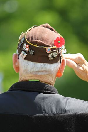 Memorial Day Ceremony hold in Lexington, Massachusetts on  May 26, 2014. Marine Veteran Saluting at Memorial Day Ceremony