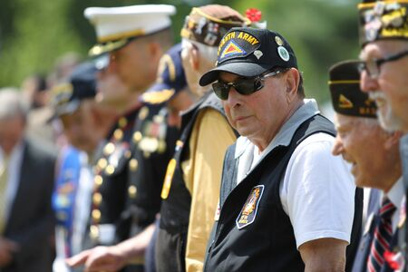 Veterans and Military Officers on Memorial Day Ceremony May 22, in Lexington, Massachusetts, USA