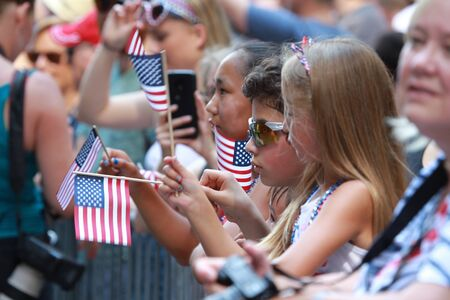 Audience Boy and Girls in Boston's Independence Day Commemoration Hold on 4th of July, 2019 in Boston Downtown Editöryel