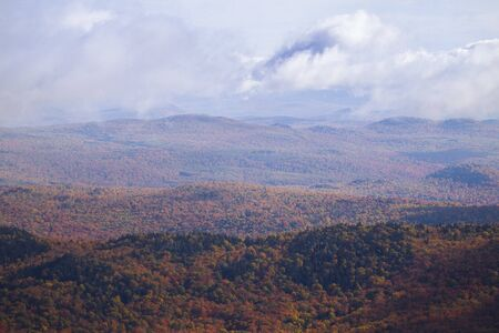 Layers of mountains in fall colors in New England Stok Fotoğraf - 131487813